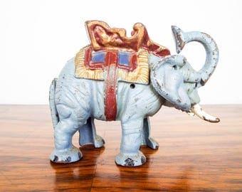 Vintage Cast Iron Working Mechanical Elephant Money Bank, Unique Jungle Animal Nursery Decor, Coin Savings Piggy Box, Blue Stocking Fillers
