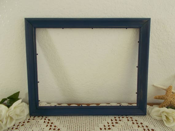 navy blue picture frame rustic shabby chic distressed 11 x 14. Black Bedroom Furniture Sets. Home Design Ideas