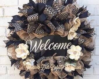 Jute Mesh Wreath, Jute Mesh Welcome Wreath, jute Wreath, Welcome Wreath, Everyday Wreath, Natural Wreath< Magnolia Wreath