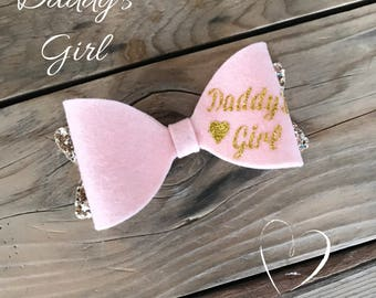 Pink Felt Bow Pink and Gold Hair Bow Baby Girl Bow Headband Photography Prop Newborn Heabands Glitter Hair Bow