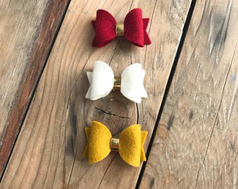 Crimson Gold and Ivory Felt Bow Set Baby Girl Headbands Itty Bitty Bows Photography Props Newborn Headbands Preemie Headbands Nylon Headband