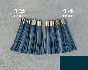 Teal-(B) Leather(cowhide) TASSEL  in 13 or 14mm Cap -4 colors Plated Cap- Pick cap size, cap color