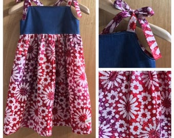 Batik and Denim Boho Halter Style Sundress, girls size 8