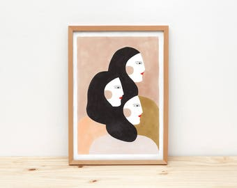 Sisters - illustration by depeapa, print, poster, A4 wall art, wall decor, portrait