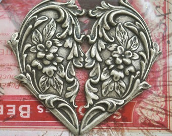 TWO Art Nouveau Brass Hearts, Brass ox, Brass Stampings, Crafting and Jewelry Making, Made in the USA