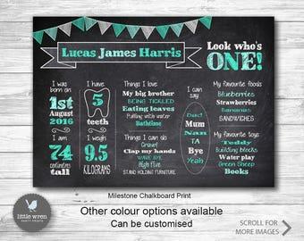 Chalkboard print, milestone print, first birthday print, first birthday, milestone chart, chalkboard poster, milestone board, birth poster