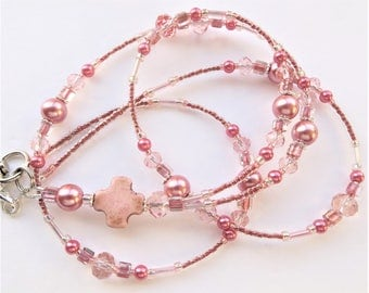 ROSE CROSS- Beaded ID Lanyard- Magnesite and Lucite Beads, Glass Pearls, and Sparkling Crystals  (Necklace Clasp or Comfort Created)