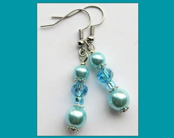 ELEGANT SKY- Handcrafted Women's Beaded Earrings- Sparkling Crystals and Glass Pearls- Stainless Steel French Hook Ear Wires- Bridal Jewelry
