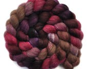 Hand painted combed top roving - Silk / BFL wool 30/70% spinning fiber - 4.1 ounces - Tossing & Turning 1
