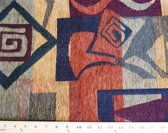 """Chenille Upholstery Fabric 1 1/8 Yards x 56"""" Wide Rust Tan Earth Tones Geometric"""