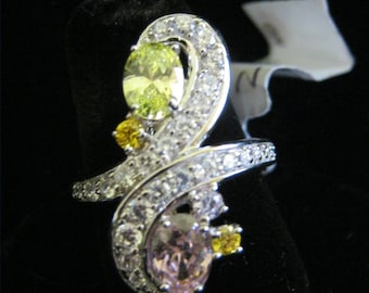 New Never Worn 925 STERLING SILVER #1650 Peridot Pink Amethyst & Cz RING Size 7.25