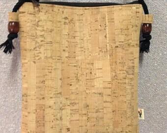 Natural CORK Crossbody Bag - Vegan - Tan - Bamboo Pattern