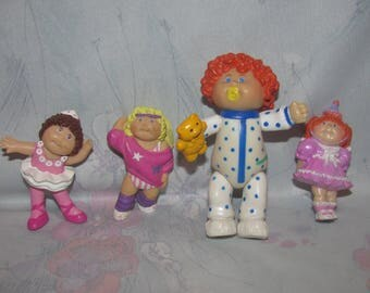 Vintage Cabbage Patch Kids Small PVC Figures - Set of 4 - Sleeper, 80's Workout Gear, Birthday Dress, Ballerina/Ballet Toys