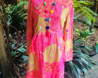 1960s Psychedelic print in shades of hot pink, chartreuse green, and white MOD Dress
