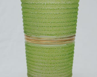 1950s Gold and Green Frosted Glass Vase