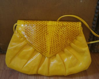 90s Italian Bright yellow leather bag with snakeskin front by Carrano