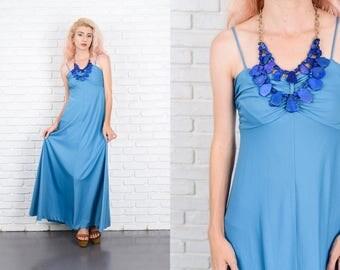 Vintage 70s Blue Maxi Dress Boho Sweetheart Hippie XXS 9945