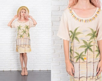 Vintage 80s Beaded palm tree Dress Tropical Shift Boho Slouchy Oversize S M L 9983
