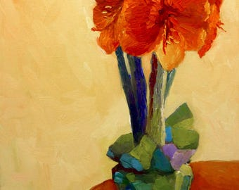 Original Still Life Oil Painting on Canvas Red Amaryllis