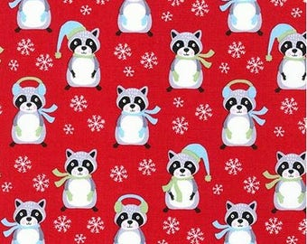 Raccoons & Snowflakes on Red from Robert Kaufman's Frosty Friends Collection by Andie Hanna