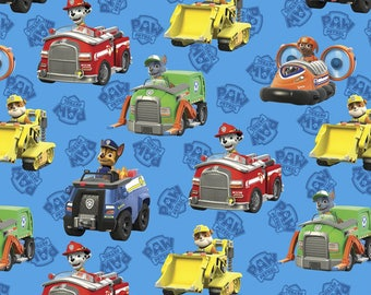 Paw Patrol Rescue Cars on Blue from Davids Textiles - Cotton Fabric