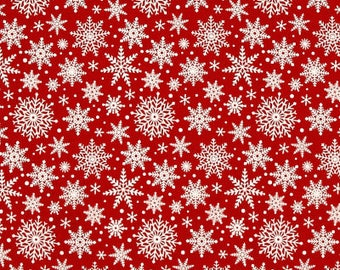 Snowflakes on Red from Riley Blake's Comfort and Joy Collection By Dani Mogstad for My Mind's Eye