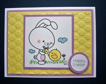 Bunny Giving an Easter Egg to a Little Chick Easter Card