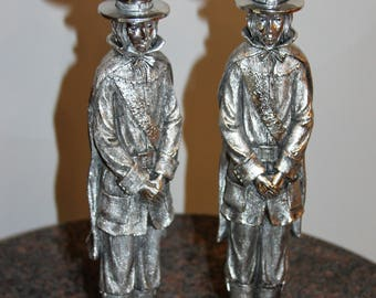 "Vintage PILGRIM Figures Silver Console Candlestick Holders 12""High, Set of 2"