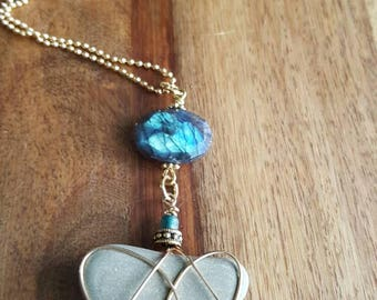 Heart Stone Necklace with Blue Laboradite Gemstone