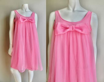 50s Adorable Pink Babydoll Nightgown - M