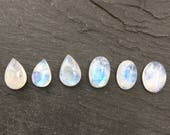 Rainbow Moonstone Natural Cabochons   Lot of 6   Semiprecious Gemstones