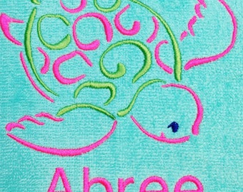 personalized, beach towels, towels for kids and adults, sea turtle, starfish, crab, monogram, beach towel, pool towel,