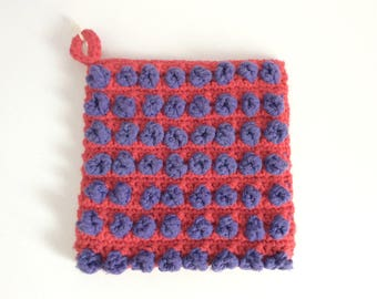 Red and purple polkadots crochet potholder, red and purple handmade crochet trivet, Ready to ship
