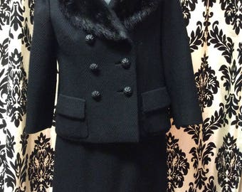 Mint condition 60's Black Wool Suit with Mink