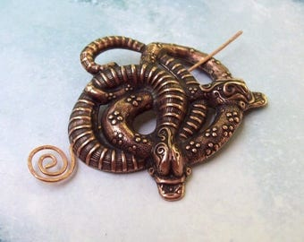 Copper Snake Shawl Pin, Copper Pin, shawl pin, reptile, double snakes, hat pin, gothic, fall fashion, scarf pin, snake pin, goth