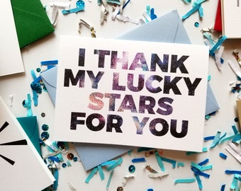 I Thank My Lucky Stars For You Thank You Card with Matching Light Blue Envelope