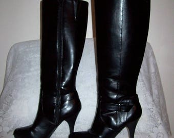 Vintage 90s Ladies Black Knee High Dress Boots by Worthington Size 7 Only 14 USD