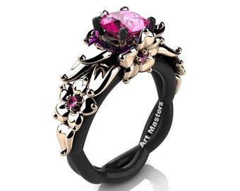 Nature Inspired 14K Black and Rose Gold 1.0 Ct Pink Sapphire Floral Engagement Ring R460-14KBRGPS