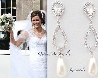 Pearl earrings, Brides pearl earrings, Crystal teardrops, Swarovski pearl earrings, Brides earrings, Wedding earrings, Pearl drop earrings