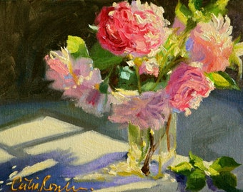 SUNLIT ROSES, beautiful still life, soft pink, art print, pink and purple, Christmas gift for her