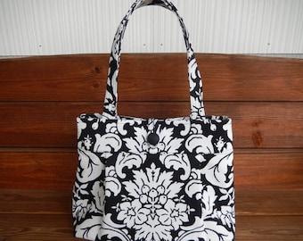 Handbag Purse Fabric Handbag Accessories Women Handbag Pleated Bag Large Shoulder Bag  in Black White Damask Print