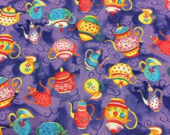 teapots on purple fabric by the metre