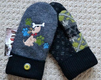 Wool Mittens Handmade recycled upcycled wool sweater, Fleece Lined, puppy Dog Embroidered, Patchwork, Dog Lover gift