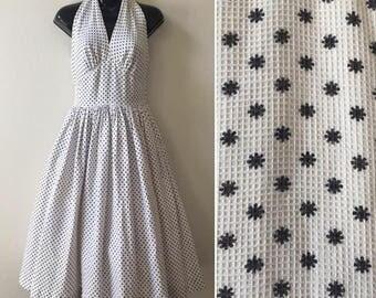 1950s halter dress, Marilyn Monroe style dress, starburst print, atomic swing dress, backless summer dress, 50s pin up dress, rockabilly