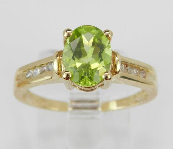 Peridot and Diamond Engagement Ring Yellow Gold Size 7 August Birthstone Gem