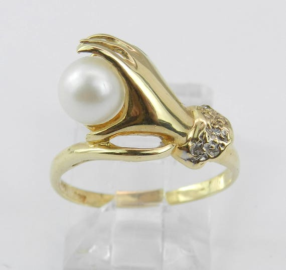 14K Yellow Gold Pearl and Diamond Engagement Ring Hand Ring Size 4.5 June Birthstone