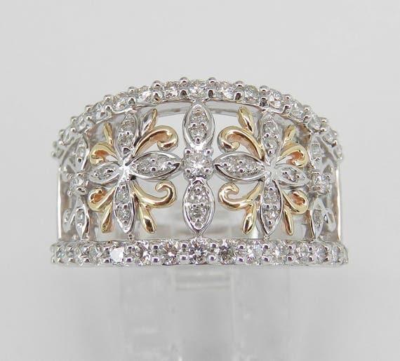Diamond Anniversary Band Wedding Ring 14K White Yellow Gold Size 7 Stackable Snowflake Ring