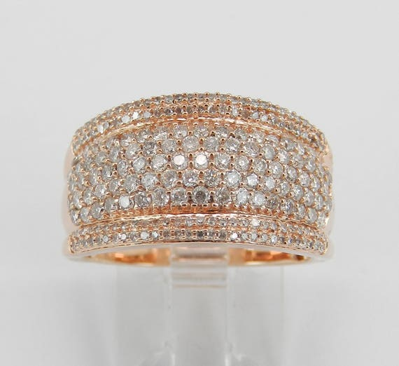 Rose Gold 1.00 ct Diamond Cluster Wedding Ring Pave Set Anniversary Band Size 7