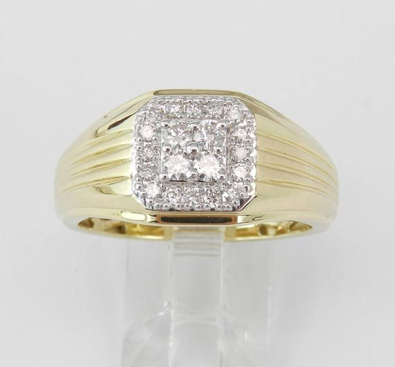 Mens Cluster Diamond Engagement Ring Pinky Anniversary Band Yellow Gold
