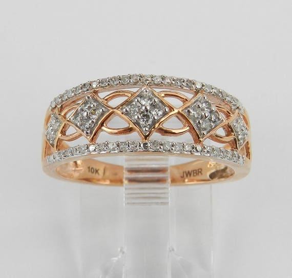 Rose Gold Diamond Cluster Ring Stackable Anniversary Band Size 6.75